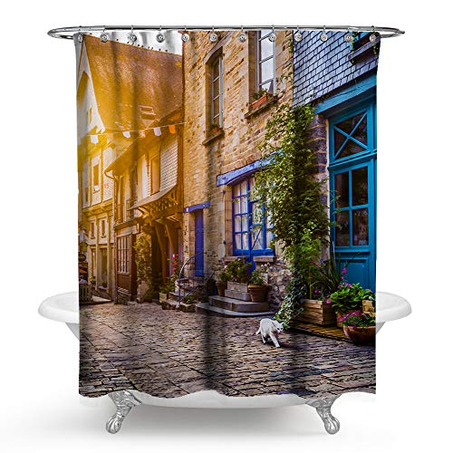 """European Country Shower Curtain, Old Town Photography Europe Scenes Vintage Buildings Shower Curtain, Colorful Shower Curtain for Bathroom Decor. (Multicolor, 59"""" L70 W)"""