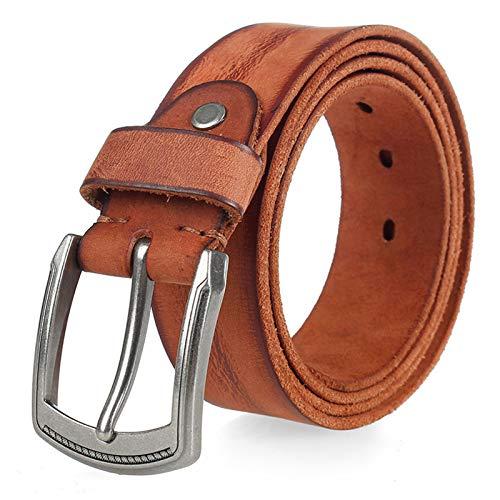 Cinturón Cinturón de piel de vaca natural, hebilla de metal duro for hombres, cinturón de hombre de piel de vaca original suave, textura única, cinturón de mezclilla de cuero Adecuado para pantalones