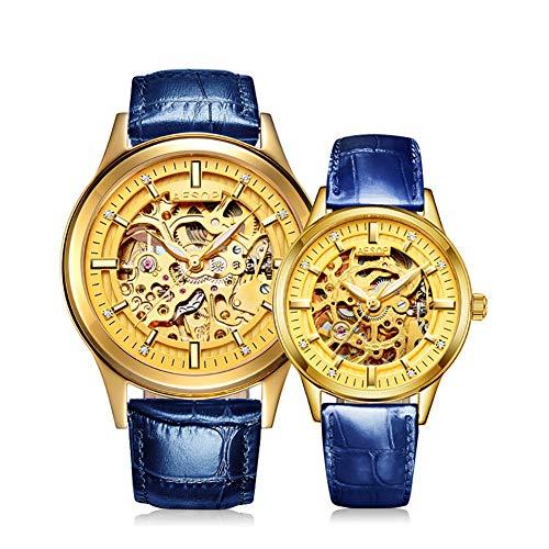 SJZV Pareja Maquinaria Reloj De Pulsera Impermeable Luminoso Hombres Y Mujeres,Blue