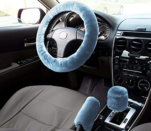 Zone Tech Fluffy Plush Car Steering Wheel Cover with Handbrake and Gear Shift Cover- Premium Quality Classic Blue Car Universal Anti-Slip Winter Warm Faux Sheepskin Protector