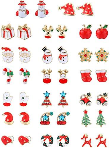 YADOCA de 20 Pares Pendientes de Navidad Pendientes de Arbol de Navidad Pendientes de Joya Santa Pendientes de Figura de Nieve Copo de Nieve