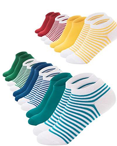 FOOTNOTE I 10 Paar I Sneaker Socken Ohne Gummi Ohne Naht Damen Herren Unisex Bunt Rot Grün Blau Gelb Türkis Gestreift 35 36 37 38