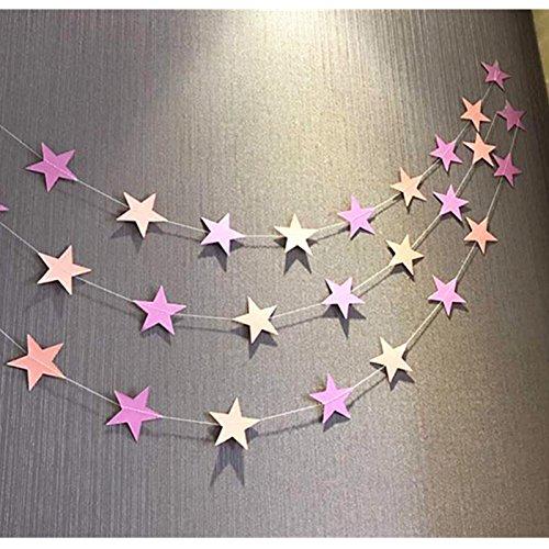 FIESTADEKOR Guirnalda Tira Estrellas Decorativas DE CARTULINA 4 Metros (Rosa)