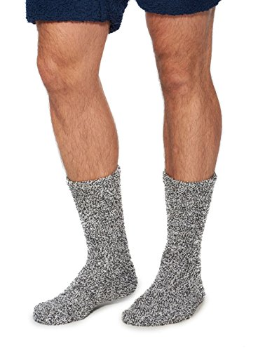 Barefoot Dreams CozyChic Heathered Men's Socks (SLATE BLUE/WHITE)