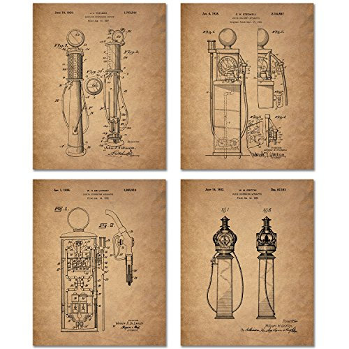 Gas Pump Patent Prints - Set of 4 (8 inches x 10 inches) Photos Vintage Wall Decor