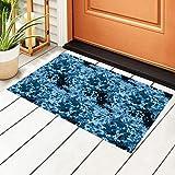 Felpudo para puerta de entrada, diseño de camuflaje azul con...
