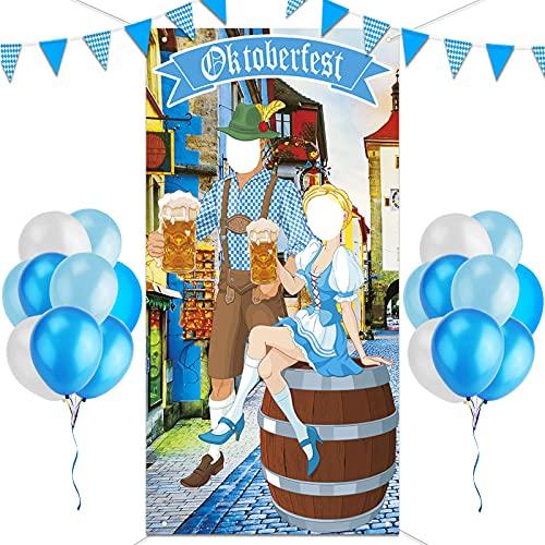 Oktoberfest Deko丨Oktoberfest Foto Requisit丨XXL Wimpel Girlande Bayern Flagge丨Blau Weiß Luftballon丨München Bayerisches Oktoberfest Party Dekoration