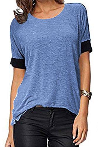 ELFIN Frauen Damen T-Shirt Rundhals Kurzarm Ladies Sommer Casual Oberteil Locker Bluse Tops - Weiches Material - Sehr Angenehm Zu Tragen (SV6PO6JR)