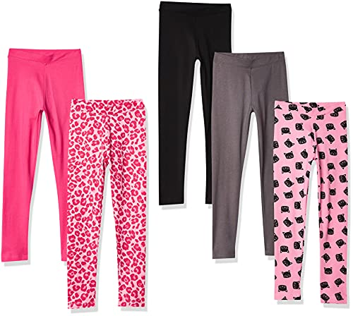 Spotted Zebra 5-Pack Leggings, Pink Cat, Small (6-7)