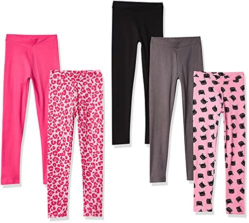 Spotted Zebra Girls' Kids Leggings, 5-Pack Pink Cat, Medium