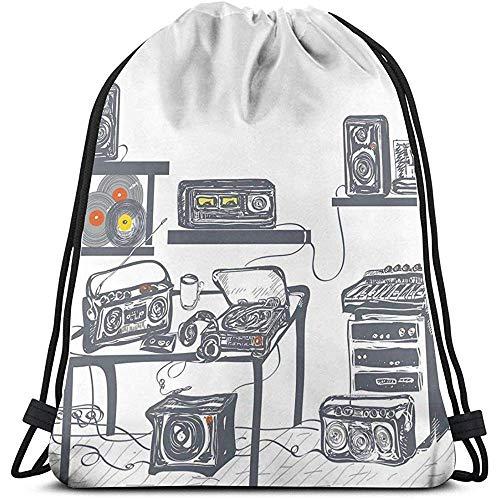 Kordelzug Rucksack Unisex BagRecording Studio mit Musikgeräten Plattenspieler zeichnet Lautsprecher Digitale Illustration auf