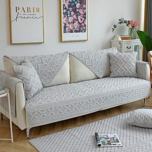 Homeen Cubiertas Elegantes de los Mueble,Funda de sofá de algodón Reversible,Funda de sofá de Tela de 2/3/4/5 plazas,Protector de sofá Transpirable,Protector de sofá Suave-Gris_Los 90 * 160cm