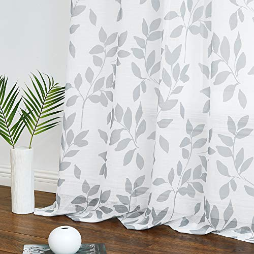 """White Grey Leaf Sheer Curtains for Bedroom 63"""" Semi-Sheer Print Leaves Pattern Curtains for Living Room Rustic Linen Textured Window Draperies for Parlor Apartment Dorm Rod Pocket Set of 2"""
