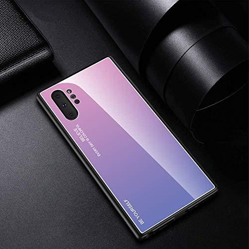 Compatible con Funda Samsung Galaxy Note 10 Plus Carcasa Trasera Case Vidrio Templado Degradado Color Cubierta Ultradelgado Anti-Rasguño Funda Protección 360 Grados Rígido Dura Bumper,Rosado Morado