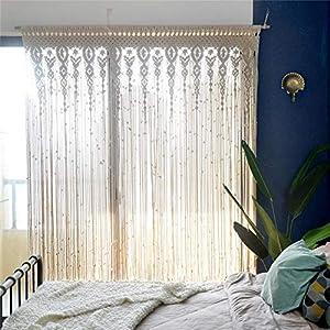 ドアウィンドウハンギングカーテン、マクラメカーテンウォールハンギング、戸口ウィンドウカーテン手織りの結婚式の背景アーチ、クローゼットルームディバイダー自由奔放に生きる壁の装飾、100%手作り/織り