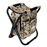 Camo Backpack Cooler and Stool - Collapsible Folding Camping Chair and Insulated Cooler Bag with Zippered Front Pocket and Bottle Pocket – for Hiking, Beach and More - by Outrav