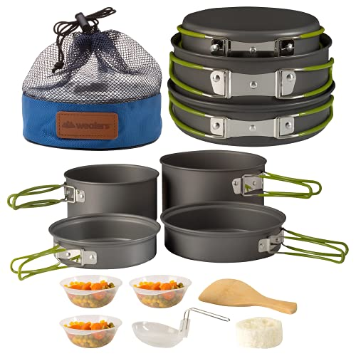 Wealers Camping Cookware 11 Piece Outdoor Mess Kit Backpacking  Trailblazing add on   Compact  Lightweight  Durable with Chef Pots, Bowls, Utensils and Mesh Carry Bag Included (11 Piece Set)