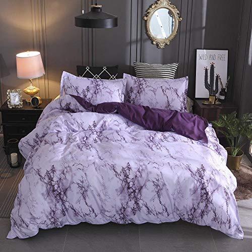 Douceur d'Intérieur 2021 - Juego de cama (funda nórdica de 135 x 200 cm, funda de almohada y cremallera, 3 piezas), color morado