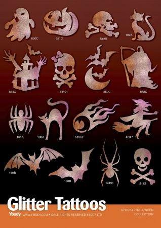 Ybody Glitzertattoos Set mit 32 Tattoo Schablonen Halloween