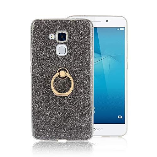 GARITANE Hülle für Huawei Honor 5C/GR5 Mini/GT3,Bling Glitzer Handyhülle Clear Silikon Bumper Tasche Hülle Cover mit Ring Ständer Fingerhalterung (Schwarz)