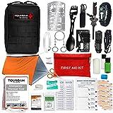TOUROAM Emergency Survival First Aid Kit,Tactical SOS Survival IFAK,Outdoor Adventure EDC Gear Bag MOLLE Trauma Kit,Camp Trekking Bicycle Truck