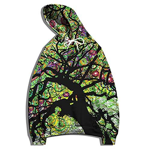 SSBZYES Felpa da Uomo T-Shirt a Maniche Lunghe Felpa con Cappuccio Plus Size Maglione Modello Ad Albero Stampa Maglione Stampa Giacca da Coppia Felpe da Uomo E da Donna