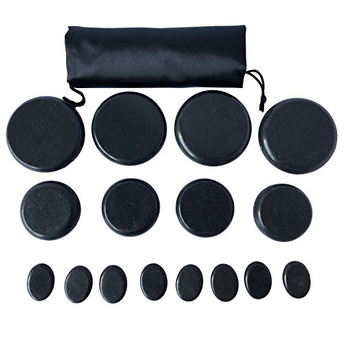 oksano 16 piezas grandes masaje caliente piedra de basalto piedra de masaje de piedras calientes piedras calientes de basalto caliente rocas piedras – Ideal para Spas, terapia de masaje, relajación