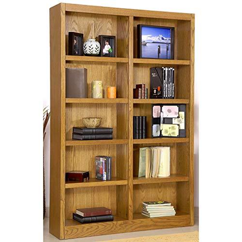 "Ten Shelf Double Bookcase 72""H Dry Oak Finish"