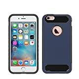 iPhone 8 Cover Case, CLINGCASE 2 in 1 Shockproof Carbon Fiber Style Protective Hybrid Back Case for Apple iPhone 7/8 (Navy Blue)