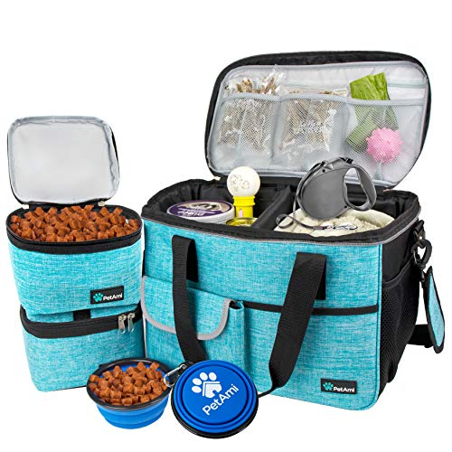 PetAmi Dog Travel Bag | Airline Approved Tote Organizer with Multi-Function Pockets, Food Container Bag and Collapsible Bowl | Perfect Weekend Pet Travel Set for Dog, Cat (Sea Blue, Small)