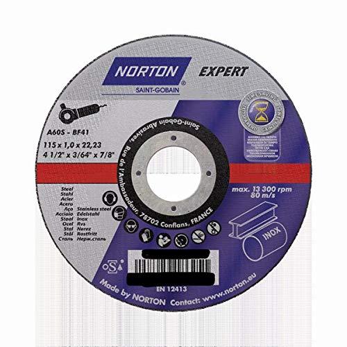 10 NORTON EXPERT Trennscheiben 115x1,0x22,23 mm Metall/INOX T41 gerade in Blechdose