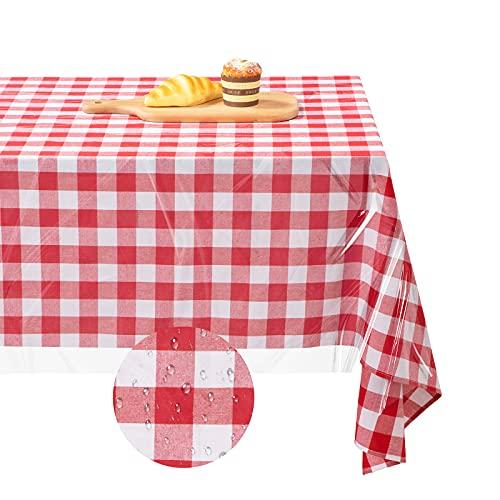 2 Manteles a Cuadros Rojos y Blancos de 54 x 84 Pulgadas con Mantel de Vinilo Transparente Impermeable a Prueba de Aceite de 54 x 84 Pulgadas para Picnic Exterior Cocina Comedor Fiesta