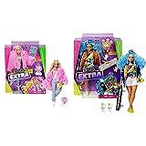Barbie Muñeca Extra 3 con Un Mullido Abrigo De Peluche Rosa, Una Mascota Mezcla De Unicornio Y Cerdito + Extra Muñeca Articulada con Pelo Azul Rizado, Accesorios De Moda Y Mascotas (Mattel Grn30)