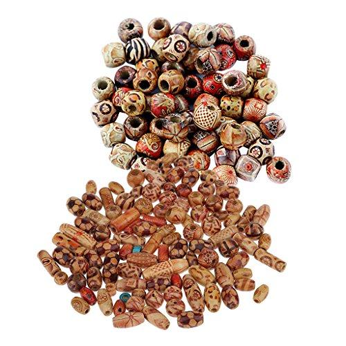 MonkeyJack 200 peças espaçador de contas de madeira com orifício grande misturado BOHO para Macrame European Charms DIY Crafts