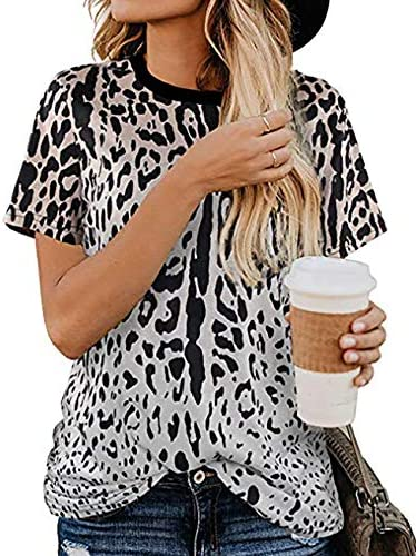 Lrady Women s Casual Shirts Leopard Print Summer Tops Basic Short Sleeve Blouse Grey XXL product image