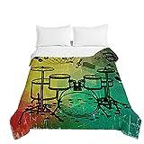 Surwin Tagesdecken Mikrofaser Schlafzimmer Bettüberwurf, Kreativ 3D Jazztrommel Bedruckte Gesteppt Steppdecke für Doppelbett Einzelbett, Sommer Komfort Tagesdecken (Grün,230x260cm)