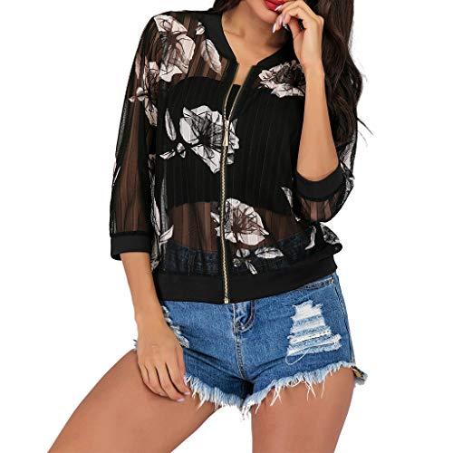 Schöne Dünne Jacke mit Zip Damen Herbstjacke 7-Ärmel Drucken Sonnencreme Zipper Slim Jacke Funktionsjacke Baseball Jacke URIBAKY
