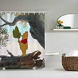 JessFash Shower Curtain 72X72 Inch Cartoons Disney Winnie The Pooh Bathroom Cartoon Cute Waterproof 72x72 Inch
