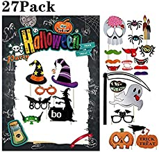 Halloween Photo Booth Frame and 27 Pcs Photo Booth Props Kit for Halloween Decorations Party Supplies, Funny Prop Signs, Assorted Designs, DIY Assembly Needed