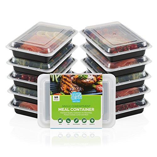 THIS LEAN Lot de 10 boîtes alimentaires/repas à compartiment unique + Recettes et guide des portions inclus - - Compatible lave-vaisselle, congélateur et micro-ondes-
