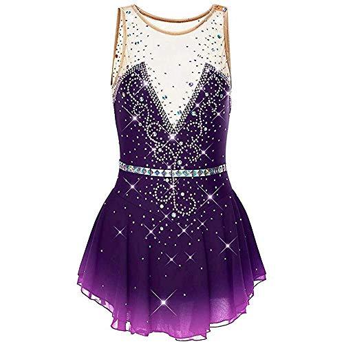 HYQW Eislaufen Performance Wettbewerb Kostüm Eiskunstlauf Kleid Frauen Mädchen Ärmelloses Eislaufen Kleid,Violet-Child14