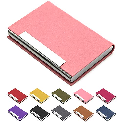 Business Card Holder, Business Card Case Luxury PU Leather & Stainless Steel Multi Card Case,Business Card Holder Wallet Credit Card ID Case/Holder for Men & Women. (Pink)…