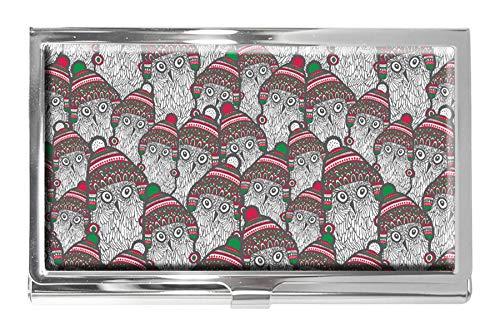 Tarjetero de Acero Inoxidable con diseño de búhos en Invierno, para Hombre y Mujer