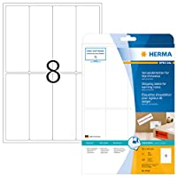 HERMA 8326 50x142mm Rectangular Paper Warning Message Shipping Labels with Round Corners - Matte White (200 Labels, 8 per Sheet)
