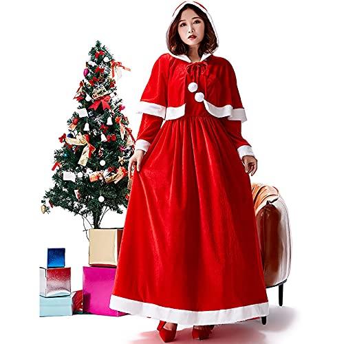 HBHBYNYN Vestido de Navidad con Chal, señorita Santa Claus for Mujer Santa Claus Traje de Vestir Traje de Vestir de Disfraces (Color : Red, Size : S)