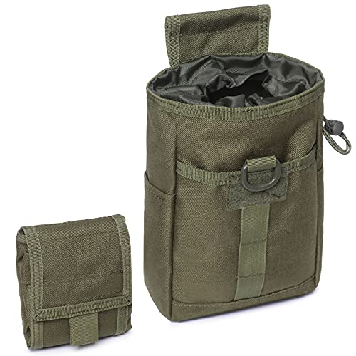 Tactical Molle Dump Pouch Folding Drawstring Magazine Ammo Pouch Military Utility Belt Pouch Waist Bag (Army Green)