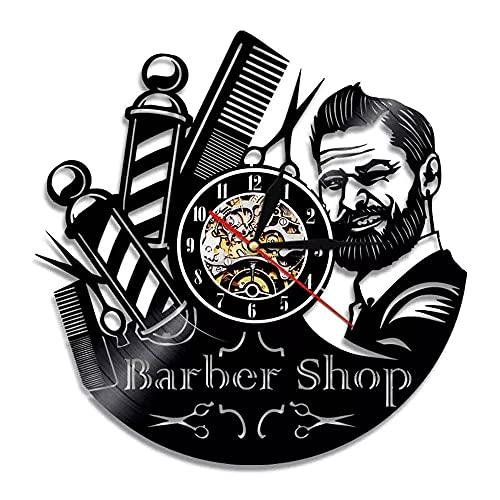 KDBWYC Letrero de barbería Reloj de Pared de Vinilo Vintage Reloj de Pared para barberos Poste Decorativo Relojes Colgantes Peluquería Estilista Herramientas Tijeras Arte sin LED