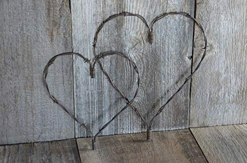 "Set of two, Large and Medium Rustic Heart, Barbed wire heart, Barb wire, Country Charm meets Shabby Chic, A Piece of the""Old West!"" Primitive metal art."