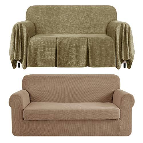 CHUN YI Stretch 2-Piece Loveseat Sofa Slipcover Bundles 1-Piece Medium Linen Sofa Throw Cover with Ruffle Design( Camel, Khaki)