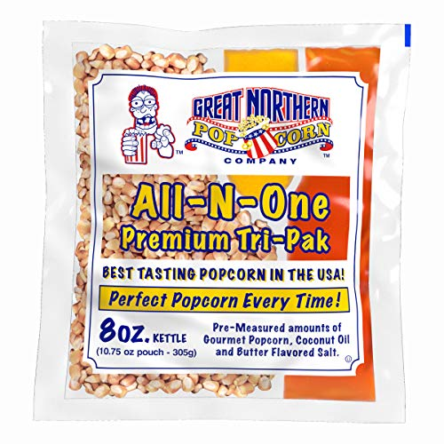 8 oz Popcorn Packs – Pre-Measured, Movie Theater Style, All-in-One Kernel, Salt, Oil Packets for Popcorn Machines by Great Northern Popcorn (Pack of 24)